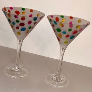 2 fun polka dot martini glasses
